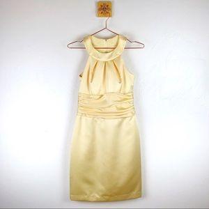 DAVIDS BRIDAL Womens Bridesmaid Dress Yellow Satin